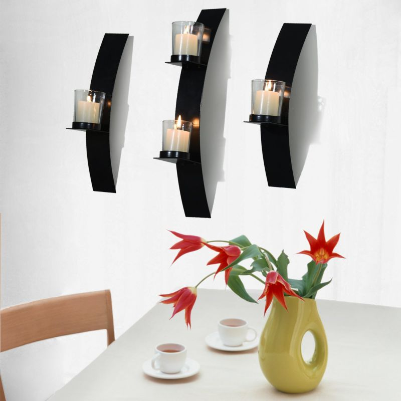 Joveco Wall Mount Candle Sconces Plaque, Set of 3