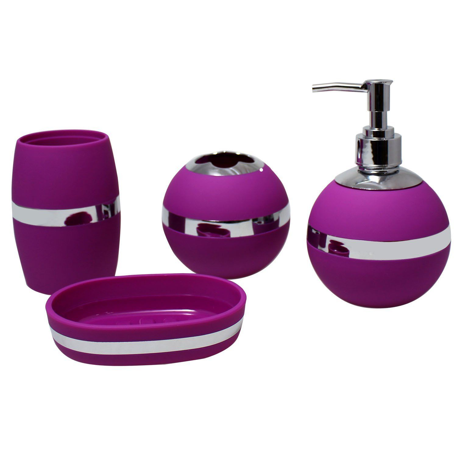 JustNile Stylish 4-Piece Bathroom Accessory Set - Purple
