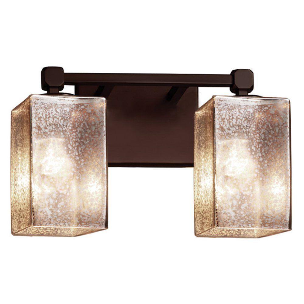 Justice Design Group Lighting FSN-8422-15-MROR-DBRZ Justice Design Group - Fusion - Tetra 2-Light Bath bar - Square with Flat Rim - Dark Bronze Finish with Mercury Glass Shade,
