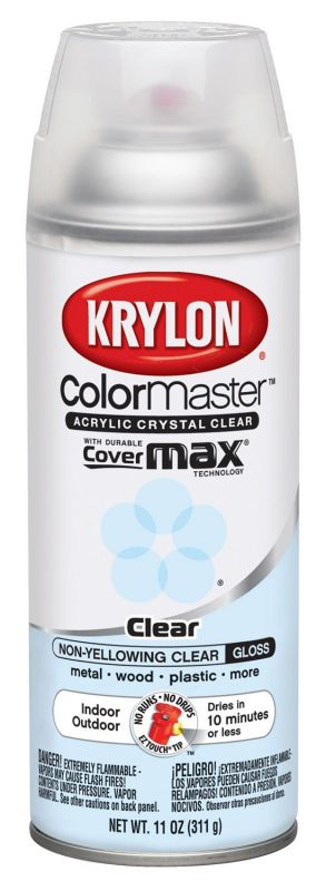 Krylon Colormaster Crystal Clear Gloss Spray Acrylic, 11oz