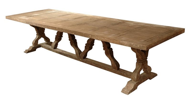 Linley Heavy Distress Farm House 14 Person Trestle Dining Table