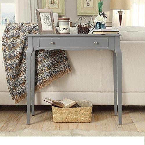 Modern Cottage Wood Narrow End Sofa Console Accent Table with Storage Drawer - (Gray)