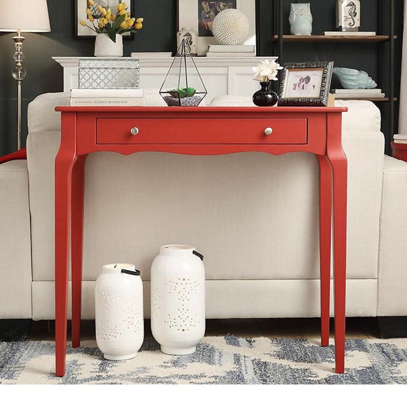 Modern Cottage Wood Narrow End Sofa Console Accent Table with Storage Drawer - Includes Modhaus Living Pen (Red)