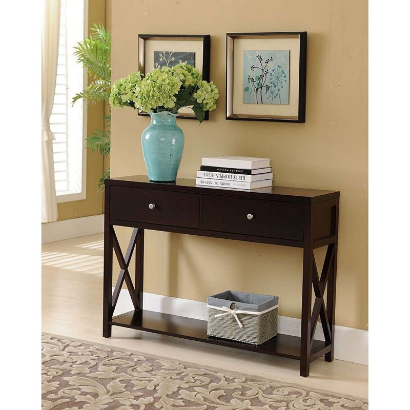 Modern Wooden Espresso Dark Brown Narrow Console Sofa Table with 2-Storage Drawers - Includes Modhaus Living Pen