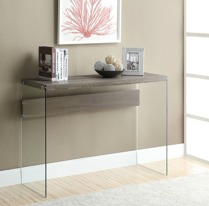 Monarch Reclaimed-Look/Tempered Glass Sofa Table, Dark Taupe