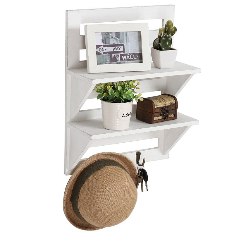 MyGift Rustic Wood Wall Mounted Organizer Shelves w/ 2 Hooks, 2-Tier Storage Rack, Distressed White