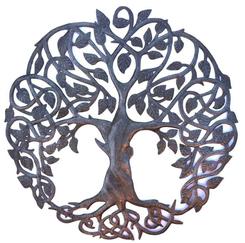 "New Design Celtic Inspired Tree of Life, Metal Wall Art, Fair trade from Haiti, 23"" X 23"""