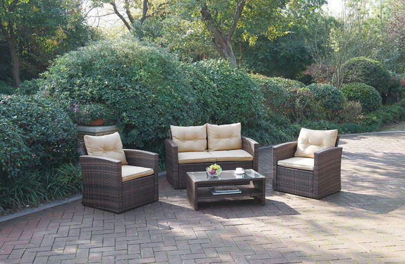 Outdoor Garden Patio 4-Piece Cushioned Seat Mix Brown Pe Resin Wicker Sofa Furniture Set