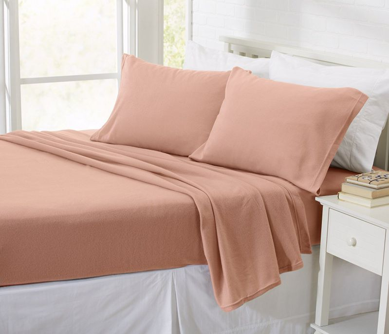 Oxford Collection Super Soft Polar Fleece Sheet Set. Cozy, Plush Winter Sheets in Solid Colors for Ultimate Warmth and Luxury. By Home Fashion Designs. (Queen, Salmon)