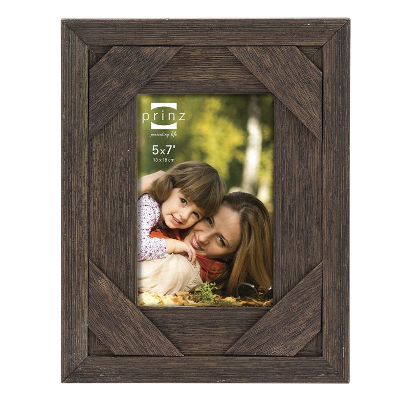 Prinz Barnes Antique Distressed Barnwood Frame, 5 by 7-Inch, Brown