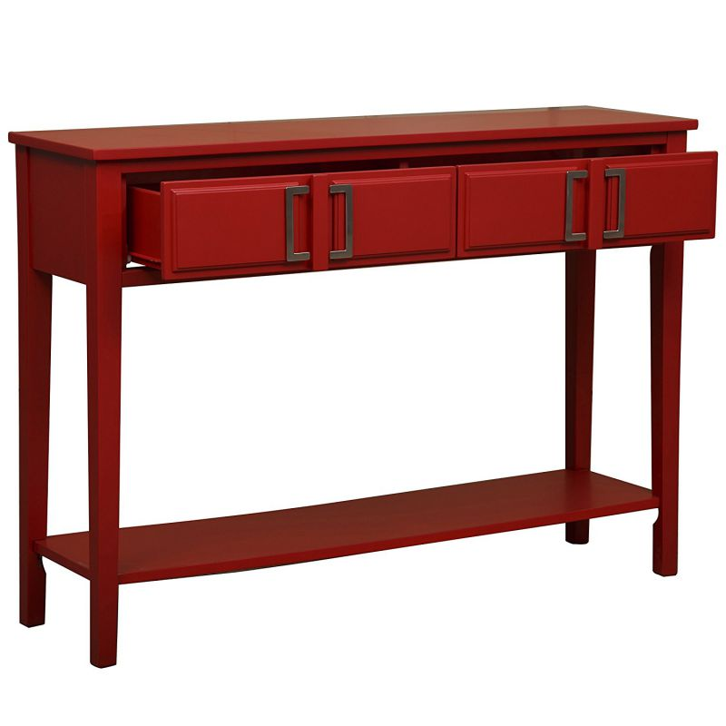 Pulaski DS-A092009 Transitional Geometric Console Drawing Table with Finish and Nickel Hardware, Red