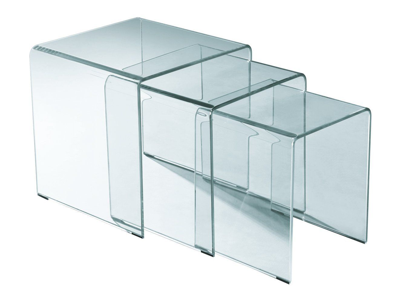 Rainbow Home Furniture CT-397 Bent Glass Nesting End Table Set, 3-Piece, Clear