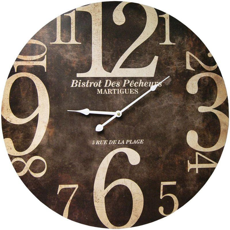 Large Decorative Clocks Part - 22: Round Decorative Clock With Over Sized Numbers And Distressed Face 23 X 23  Inches Sideways Numbers