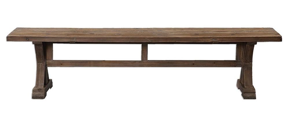Rustic Pine Farmhouse Solid Wood Trestle Bench | Dining Table Seat Cottage Antique