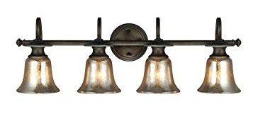 Sea Gull Lighting 4470404-736 Blayne - Four Light Wall/Bath Bar, Platinum Oak Finish with Mercury Glass