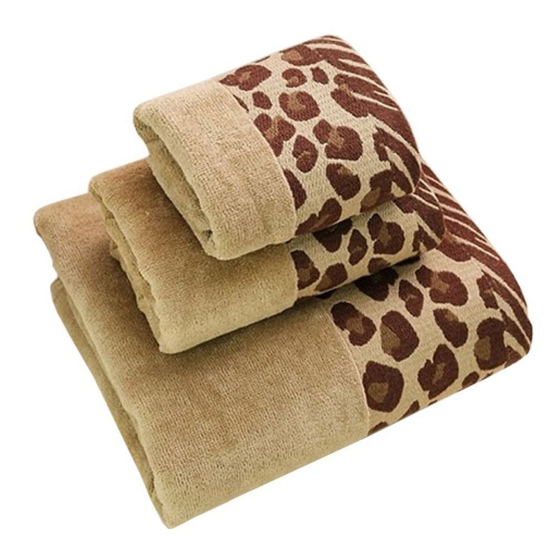 Soft Large Bath Towel,Strong Absorbency,All Cotton Leopard Print(Brown)