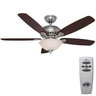 Southwind 52in. Brushed Nickel Ceiling Fan, Five Reversible Blades, Cherry/maple, with Remote Control