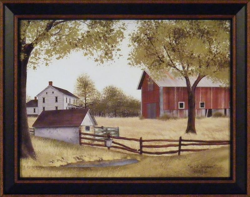 The Old Springhouse by Billy Jacobs 15x19 Farmhouse Barn Well Country Primitive Folk Art Framed Picture