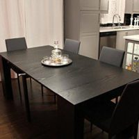Transformer Extendable Dining Table, Expands from Console Table to Large Dining Table Seating 10 (Black)