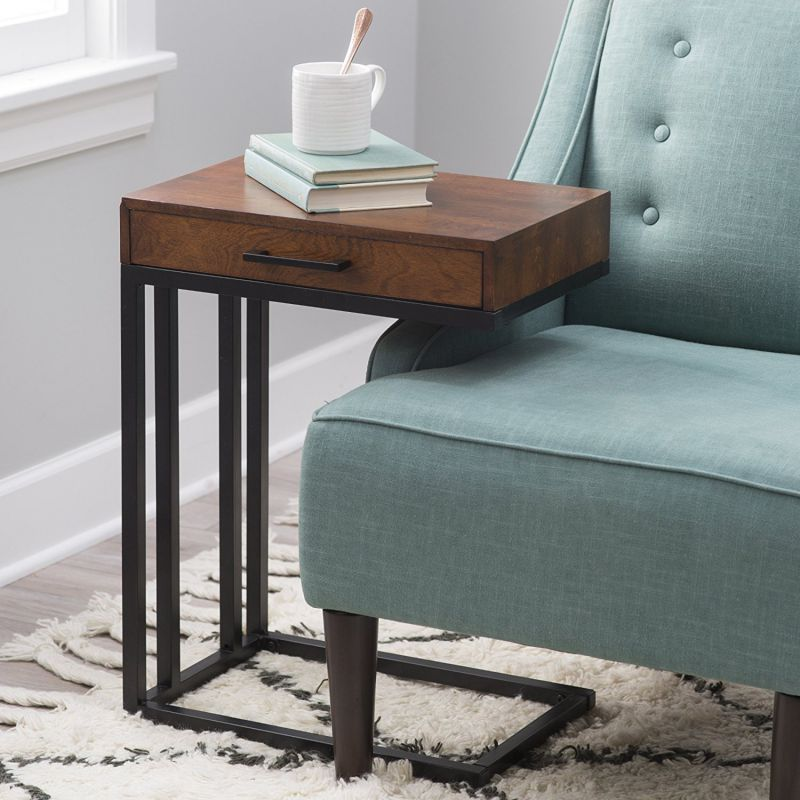 Versatile Drake C-Table with Drawer in Espresso