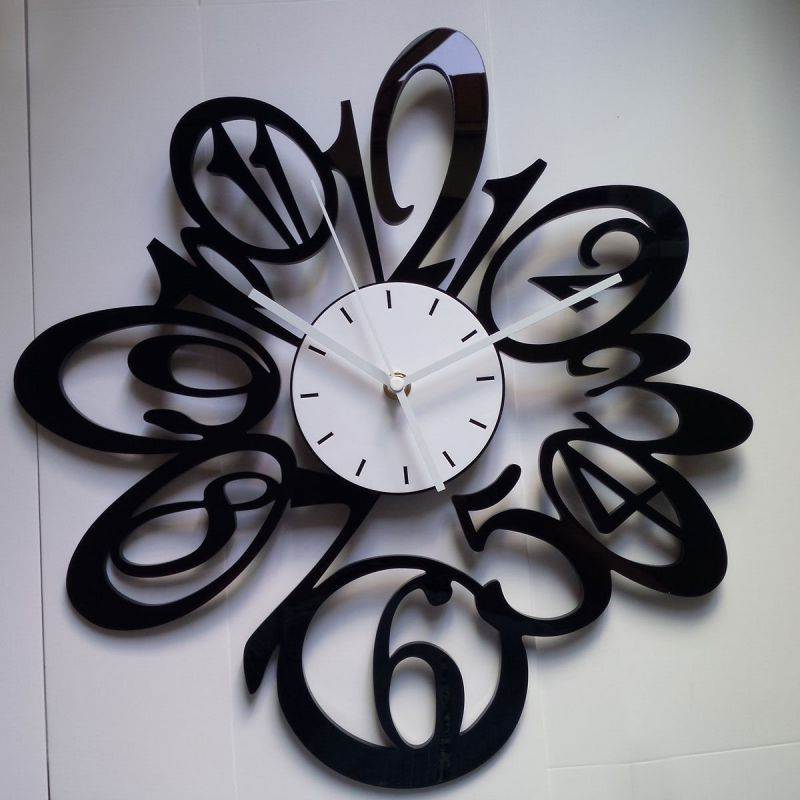 Wall Clocks Modern 15 In Large Black Red White Number Wall Clocks Wall  Clocks Decorative Living