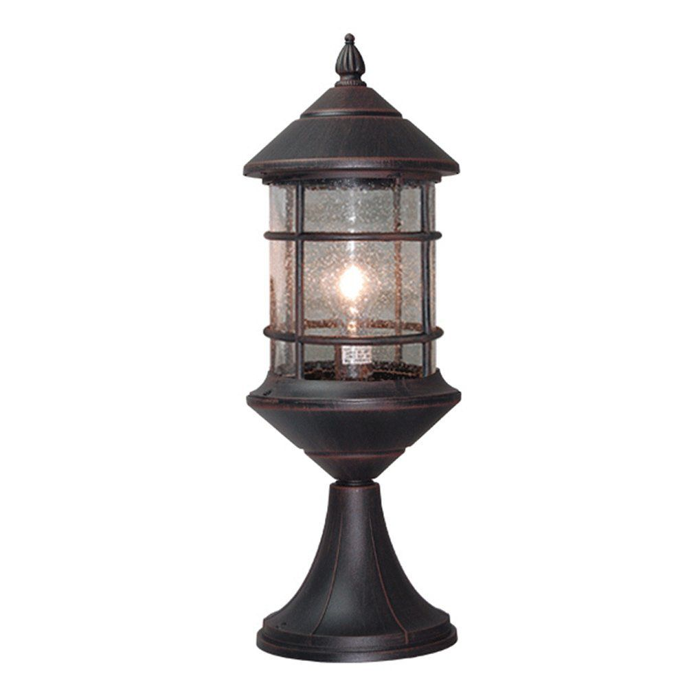 Interesting outdoor pillar lights etoplighting bella luce collection exterior outdoor pillar lantern rust body finish clear seeded glass aloadofball Image collections