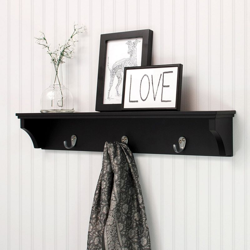nexxt Finley Wall Shelf with 3 Metal Hooks, 24-Inch by 4.25-Inch, Black