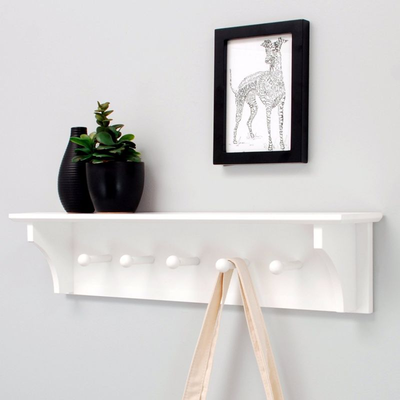 "nexxt Foster Wall Shelf with 5 Pegs, 24"" by 5.5"", White"
