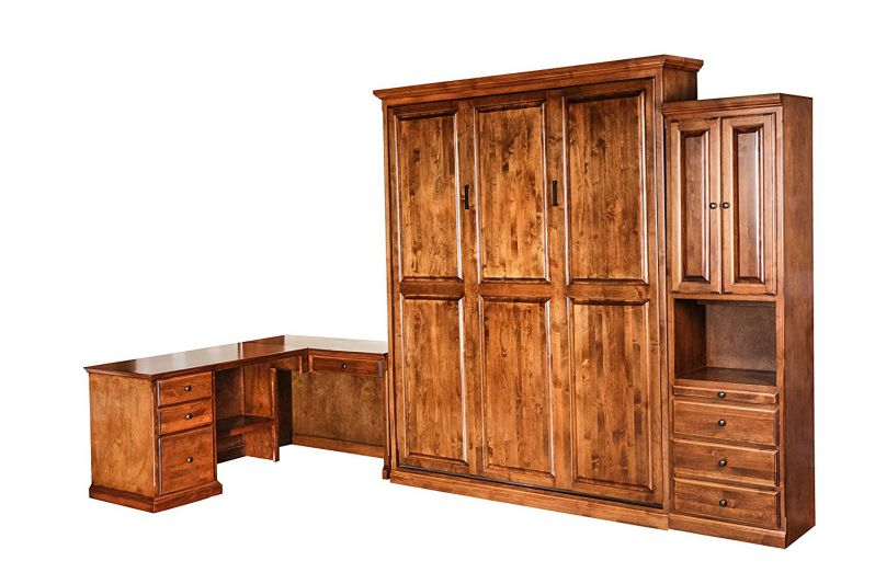 Forest Designs Traditional Alder Open Queen Murphy Bed, Pier & Desk: 190W X 92H X 24D Chestnut Oak