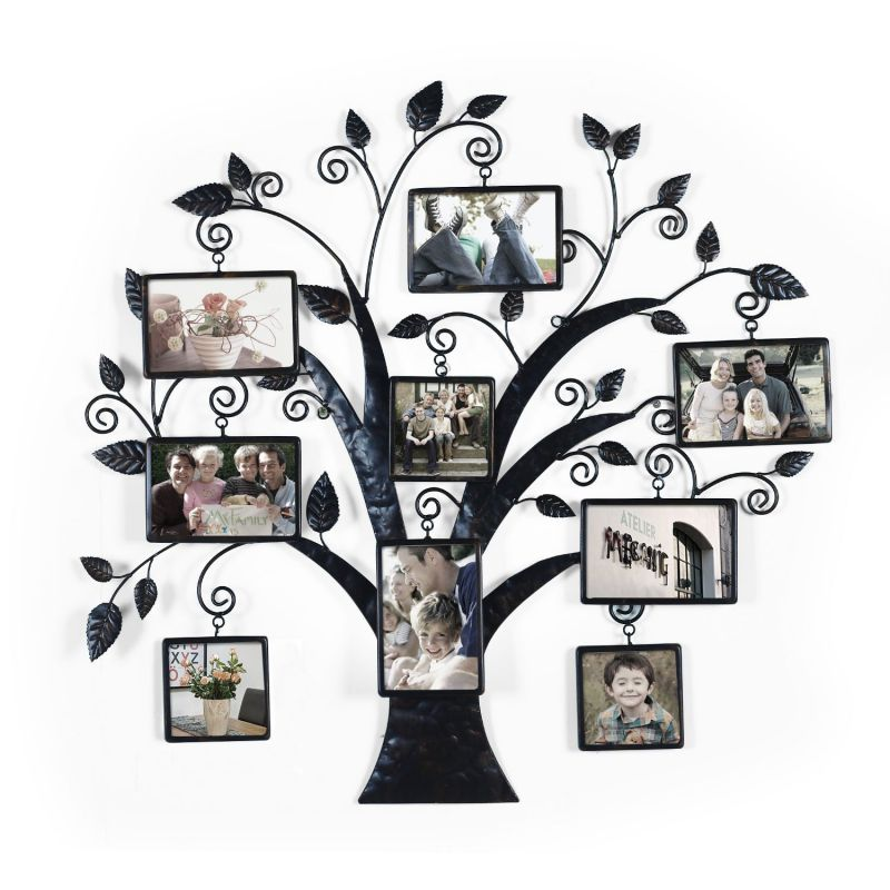 "Brown Black Decorative 9 Opening Collage Bronze Bronze Iron Metal Wall Hanging Family Tree Picture Photo Frame, 9 Opening, 4x6"" 4x4"""