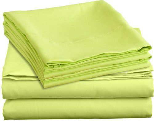 Clara Clark Bright Colored Bedding Colortastic Juvenile Series Complete DUVET COVER SET, Kids, Children and Teens, Boys and Girls Personal Microfiber Soft and Easy Care - Full Size, Green (Lime Punch) Color