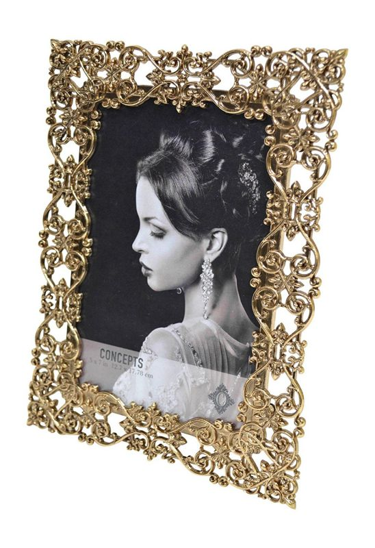 Concepts Gold Metal Picture Frame With Scroll Design 5x7