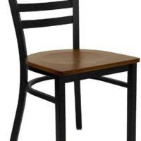 HERCULES Series Black Ladder Back Metal Restaurant Chair - Cherry Wood Seat [XU-DG694BLAD-CHYW-GG]