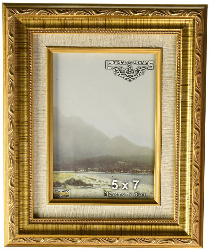 Imperial Frames 61457 5 by 7-Inch/7 by 5-Inch Picture/Photo Frame, Dark Gold with Floral Design and a Canvas Liner