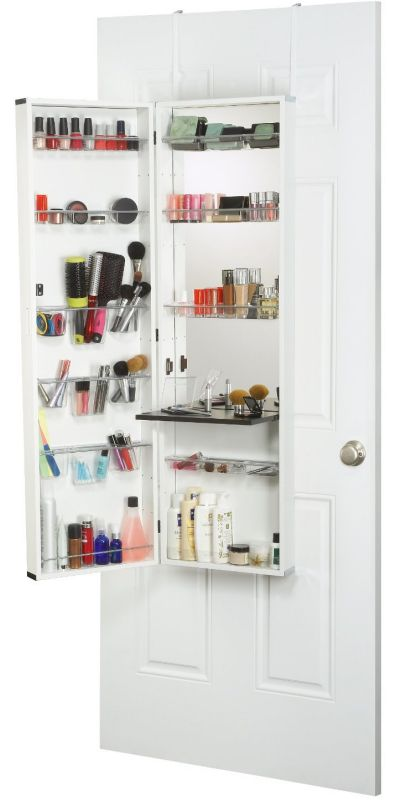 Mirrotek Armoire Makeup Organizer with Vanity Table White Frame