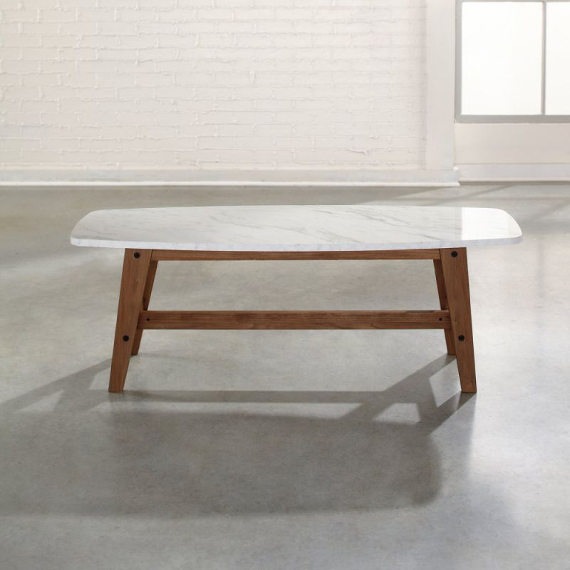 Sauder Soft Modern Cocktail/Coffee Table in Fine Walnut Finish