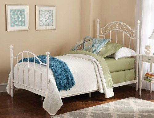 Twin Girls Metal Bed, White, Traditional styling metalwork, Classic & Elegant Look by Mainstays