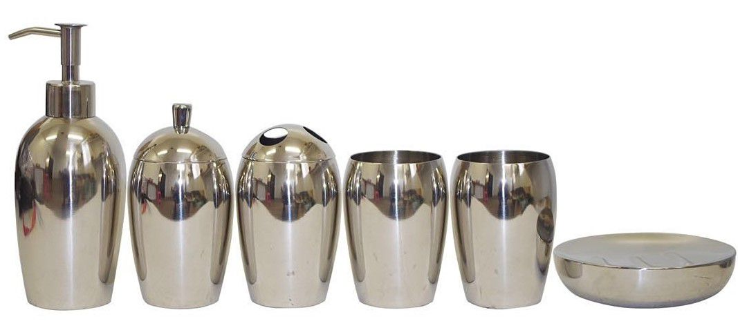 WAYMAY 6 Pieces 18/8(304) Stainless Steel Bathroom Set