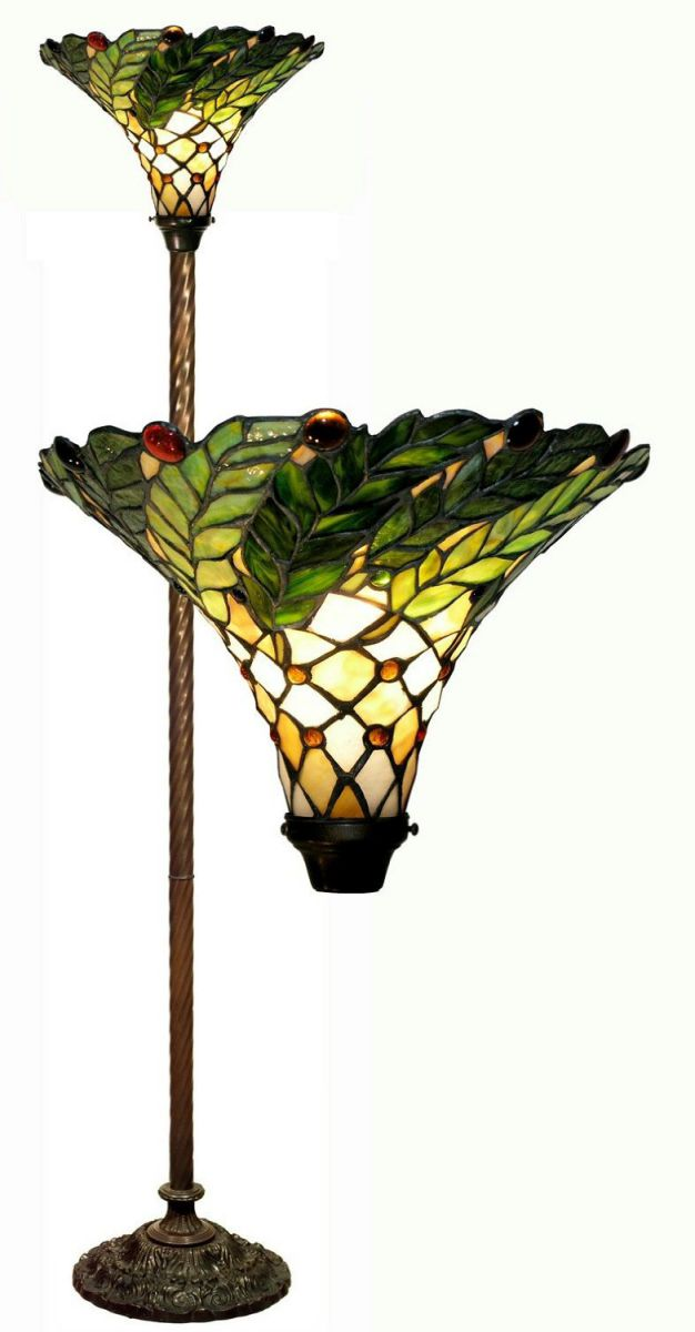 Warehouse of Tiffany's 3742-BB75B Green Leafy 60-Watt 67-Inch Torchiere Lamp