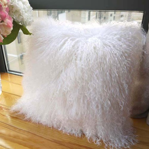 100% Tibetan Mongolian Lamb Sheepskin Wool Fur Leather Pillowcase Cushion Cover 20x20 Inch (Ivory White) by ROSE FEATHER by RoseFeather