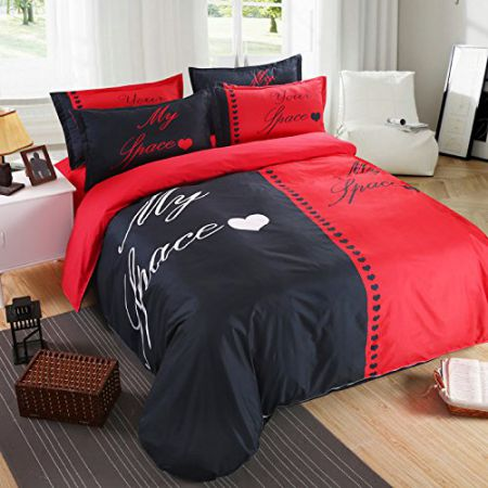3D black and white couples ideas on four sets of twin bed sheets,B,Queen