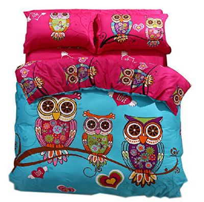 Cliab Owl Bedding Girl Duvet Cover Set