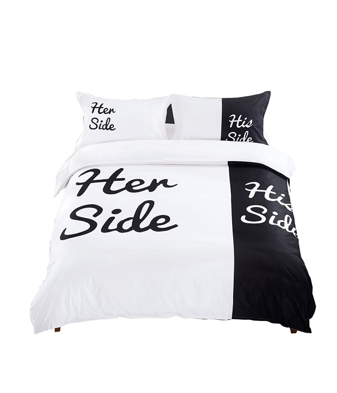 D-Sun His Side and Her Side Cotton 4-Piece Duvet Cover Set