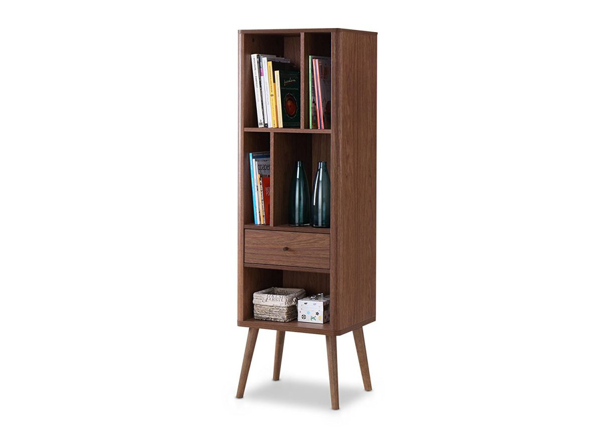 Ellingham Mid-Century Modern Cabinet Bookcase Organizer by Baxton Furniture Studios