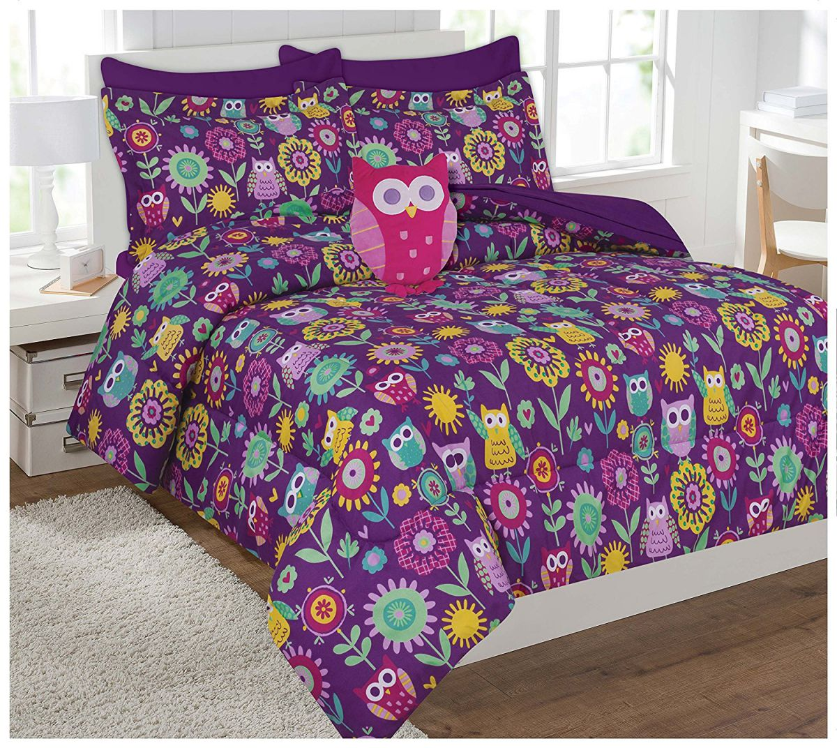 Full Size 8 Pieces Reversible Printed Owl Microfiber Kids Bedding