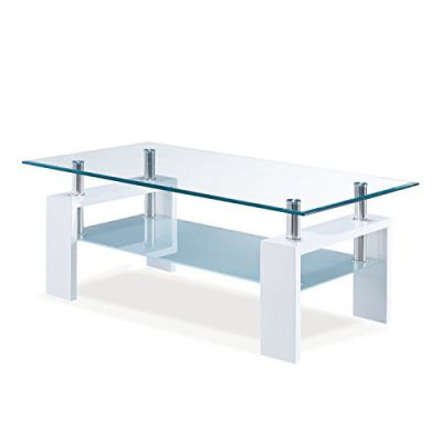 Global Furniture Frosted Coffee Table with White Legs