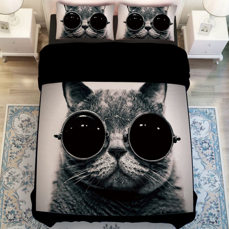 MeMoreCool Fashion Cat with Glasses Bedding Sets