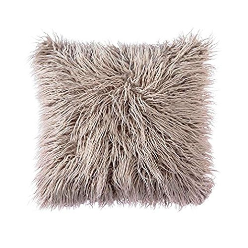 OJIA Deluxe Home Decorative Super Soft Plush Mongolian Faux Fur Throw Pillow Cover Cushion Case (20 x 20 Inch, Light Coffee)