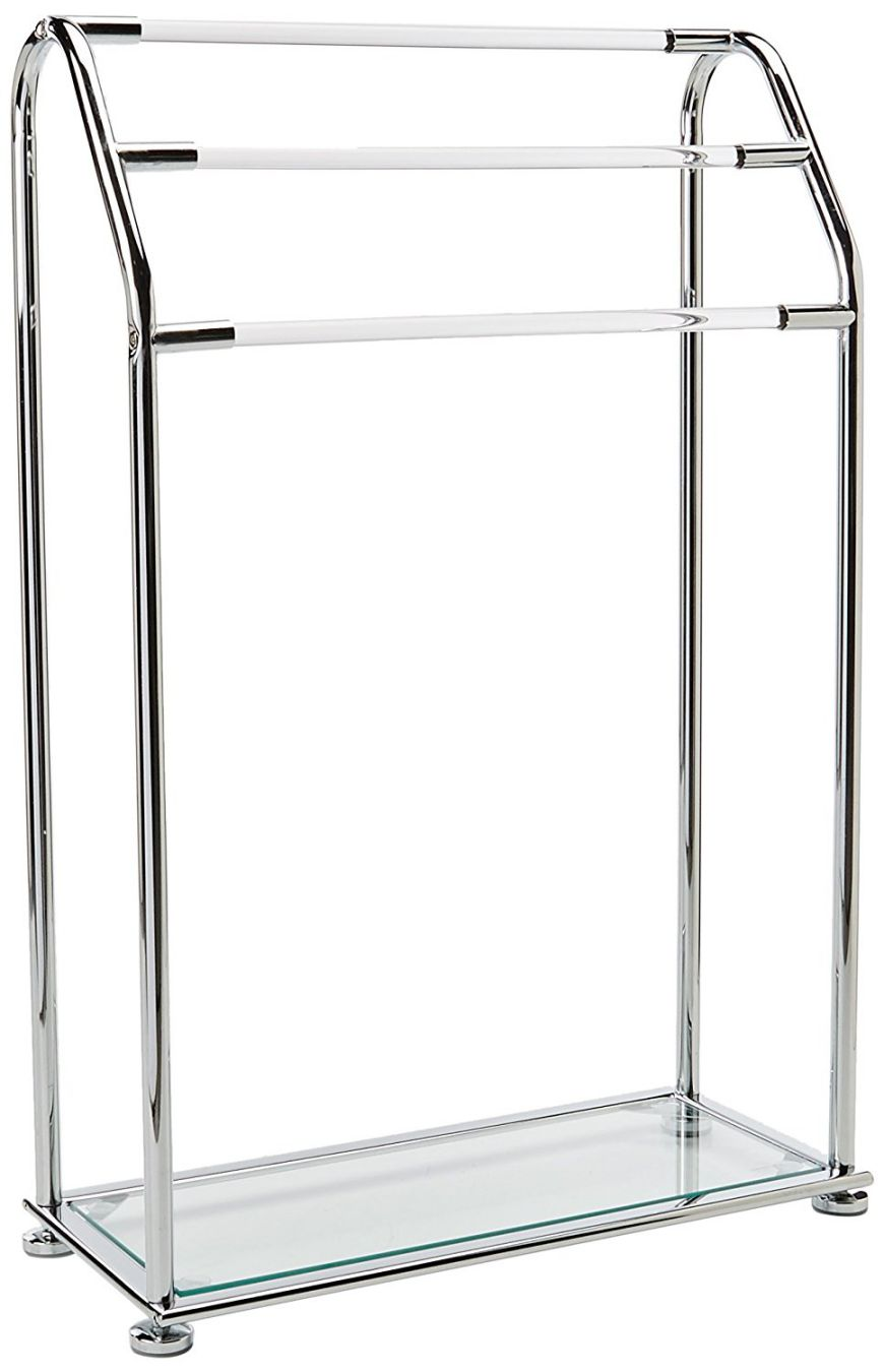 Organize It All Acrylic 3-Bar Bathroom Towel Rack with Bottom Shelf