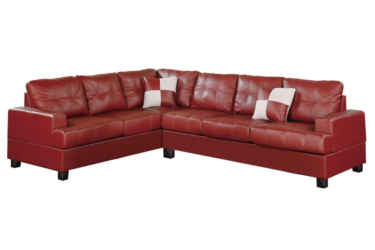 Poundex Bobkona Karen Bonded Leather 2-Piece Reversible Sectional Sofa, Burgundy